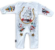 Tattoo Sailor playsuit, back -} http://bumpandbunny.com/collections/six-bunnies/products/tattoo-sailor-playsuit