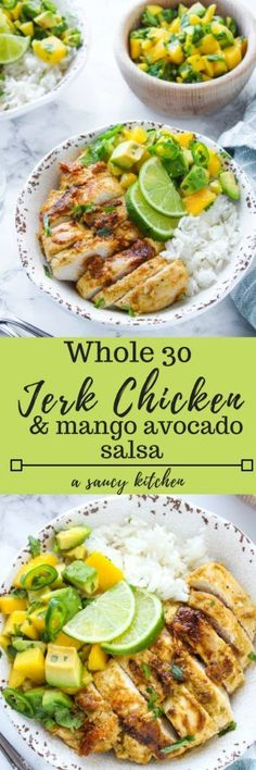 Whole 30 friendly Jerk Chicken with a simple mango & avocado salsa - sweet, spicy, and packed with flavor. Paleo & Gluten Free