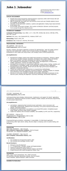 Computer Programmer Resume Example | Resume Examples