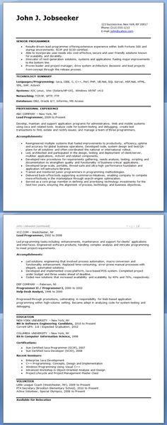 computer programmer resume examples - Computer Programmer Resume Examples