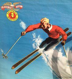 Advertising poster for Splitkein Flexible Flyer wooden skis.
