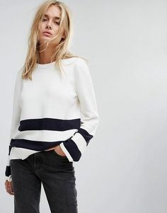 Noisy May - Pullover mit Streifen und Schnürung an den Ärmeln - Weiß Jetzt bestellen unter: https://mode.ladendirekt.de/damen/bekleidung/pullover/sonstige-pullover/?uid=b1490ad4-b0ae-597d-9c51-036579d3861e&utm_source=pinterest&utm_medium=pin&utm_campaign=boards #strickjacken #sonstigepullover #pullover #female #bekleidung