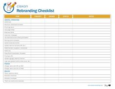 Rebranding Checklist Item Business Cards Voicemail messages Job descriptions/job posting templates Parking permit template Update business license Update ...