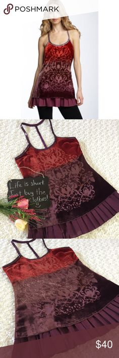 """Free People Forbidden Ivy burnout tunic Red and purple ombre Free People burnout tunic. Feels like velvet and has a T back. Size 8. 18"""" arm pit to arm pit. 33"""" length. Free People Tops Tunics"""
