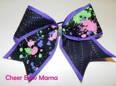 Purple, Black & Splatter Cheer Bow by Cheer Bow Mama