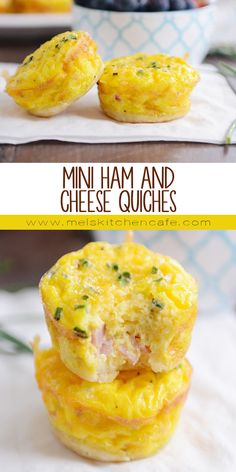 Mini Ham and Cheese Quiches This ham and cheese mini quiche recipe is whipped up in a regular ol' muffin tin, and the cute little quiches are a hit whenever I serve them to friends or family! Sausage Breakfast, Breakfast Dishes, Breakfast Recipes, Breakfast Ideas, Breakfast In Muffin Tins, Quiche Muffins, Mini Muffins, Crustless Mini Quiche, Mini Egg Quiche