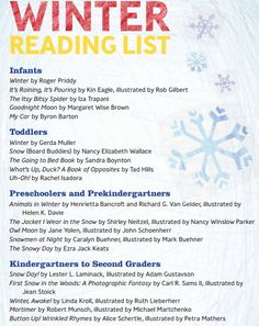 Looking for books to read with your little one? Here 's the KinderCare Winter Reading List     Ages: Infants, Toddlers, Preschool, PreK and Kindergarten #kidlit #preschool #literacy #kindergarten #kids #preschool #PreK #children #read #book #library