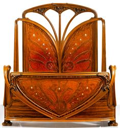"""""""AUX ORCHIDÉES"""" BED walnut and macassar ebony with thuya, amaranth, bois des îles and burl amboyna marquetry and mother-of-pearl, copper inlays Louis Majorelle circa Art Nouveau Bedroom, Art Nouveau Furniture, Unique Furniture, Vintage Furniture, Barbie Furniture, Furniture Legs, Garden Furniture, Furniture Design, Distressed Furniture"""