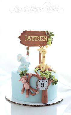 Jungle Birthday Cakes, Jungle Theme Cakes, Small Birthday Cakes, Animal Birthday Cakes, Cupcakes, Cupcake Cakes, Bolo Sofia, Zoo Animal Cakes, Festa Safari Baby