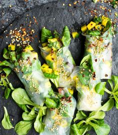 Baked tofu and mango lime salsa rolls with raspberry/lime dipping sauce.   @laurencariscooks
