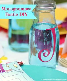 Make a monogrammed bottle for each child at the party and use for drinks or fill with candy or hot cocoa mix for a favor.  #StylishKidsParties