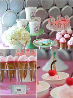 A Deliciously Darling Ice Cream Parlor  by Bird's Party  #icecream #partyideas #icecreamparty