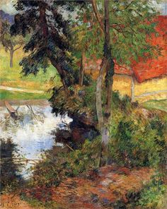 Red roof by the water, 1885  Paul Gauguin