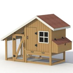 """Although the chicken coop looks like a fabulous house from the outside, it is very roomy. Outside dimensions of the chicken coop: Maximum coop height is 7 ' The length of the hen house with a run is 8'3 """" The length of the chicken coop is 4'7 """" Coop width is 4'2 """" 16 square feet of floor space In this project I used materials:"""