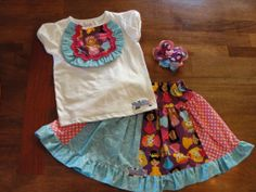 Adorable Ruffled Bib Top w/ One of a Kind Twirly Skirt...with Purple Girfriends/Princess and Aqua Swirls& Pink Dots includes M2M Hairbow
