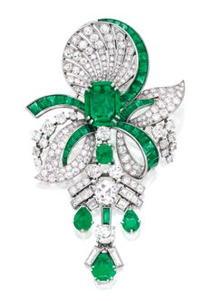 Emerald,diamond brooch, circa 1935, Mauboussin, Paris. Via Sotheby's.