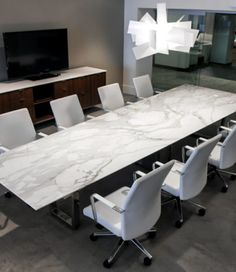 Contemporary White Stone Conference Table
