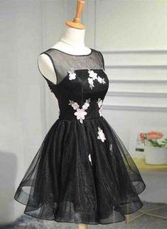 a81e0c9a6c Black Tulle O Neckline Short Homecoming Dresses