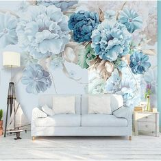 We know, it's hard to resist😉 Peony Flowers Wallpaper Mural Floral Wallcovering 4 Material Options! Bold Wallpaper, Flower Wallpaper, Wallpaper Murals, Custom Wallpaper, Blue Peonies, Exotic Art, Garden Living, Vinyl Wall Stickers, Decals