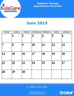 Use this June 2015 editable PDF calendar to plan out your Speech, Physical, or Occupational therapy for the month!June