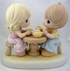 Precious Moments Sisters Having Tea Figurine.   With us it would be coffee...khalua for me:)