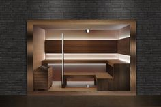 "Sauna ""Dream"" Professional by Carmenta Sauna Steam Room, Finnish Sauna, Possible Combinations, Wellness Spa, Indoor, Shelves, House, Inspiration, Home Decor"