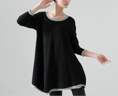 Black Special Knit Loose Fit Sweater Plus Size Women by Etsy - MordenMiss, $55.00