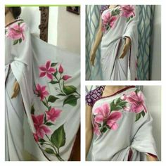 Saree Painting Designs, Fabric Paint Designs, Fabric Design, Pattu Saree Blouse Designs, Kurta Designs, Dress Painting, Fabric Painting, Hand Painted Sarees, Kurti Patterns
