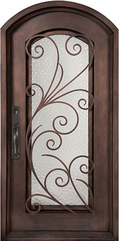 40x82 Summer Breeze Iron Door. Beautiful wrought iron front entry door with grille from Door Clearance Center.