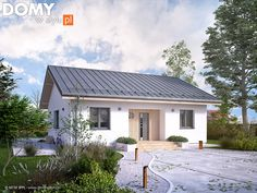 20 Modern Polish Bungalow You Can Build Under With Floor Plan You Can Copy! Simple Bungalow House Designs, Small Cottage Designs, Modern Bungalow House, Cool House Designs, House Floor Design, Small House Design, My House Plans, Small House Plans, Bungalows