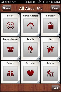 All About Me Storybook | Special Needs App - All About Me Storybook is a storybook application that can be customized with personal pictures, text and audio support for individuals learning their personal information.