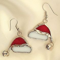 Amazon.com: Stained Glass Santa Claus Hat Festive Christmas Holiday Party Earrings: Jewelry
