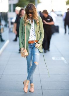 Olive + dots + skinnies + oxfords