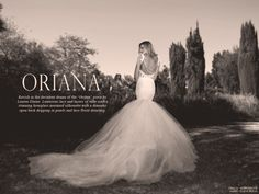 """Introducing the """"Oriana"""" gown by Lauren Elaine Bridal.  Ravish in the decadent drama of the """"Oriana"""" gown by Lauren Elaine. Luxurious lace and layers of tulle craft a stunning hourglass mermaid silhouette with a dramatic open back dripping in pearls and lace floral detailing. View the entire lookbook here: http://blog.lauren-elainedesigns.com/2015/11/27/oriana-mini-lookbook/"""
