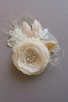 Rustic Wedding Hairpiece Bridal Hair Clip Headpiece by BelleBlooms