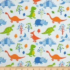 The New Kids on the Block Large Dinosaurs Multi from @fabricdotcom  This cotton print fabric is perfect for quilting, apparel and home décor accents. Colors include orange, green, blue, white and light blue.