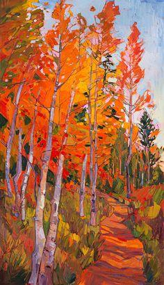 Aspens Painting - Aspen Trail by Erin Hanson