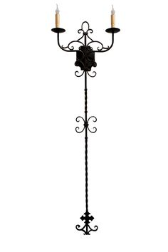 Hand forged iron double wall sconce by www.haciendalights.com