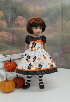 Trick or Treat Kitty Halloween dress for Dianna by darlinglilbee