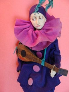 Tagged Lenci Pierrot Boudoir Bed Doll in Purple and Pink