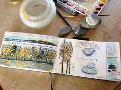 Tisha Sheldon, pen and ink, and watercolor, York Beach, Maine