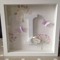 Personalised Wooden Letter Name Frame - Laura Ashley Bella Butterfly/Esme Box Frame Art, White Box Frame, Name Frame, Box Frames, Box Art, Frames Ideas, Framed Letters, Scrabble Frame, Scrabble Art