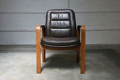 VINTAGE-DANISH-BROWN-LEATHER-OAK-OFFICE-ARMCHAIR-SIDE-DINING-CHAIR-70S-80S