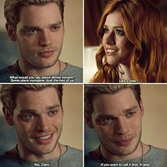 His smile and his eyes 😍😍 damn, thus dude is whipped ! Clary Und Jace, Pretty Little Liars, Netflix, Shadowhunters Season 3, Gossip Girl, Cassie Clare, Dominic Sherwood, Shadowhunters The Mortal Instruments, Matthew Daddario