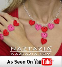DIY Learn How to Crochet Heart Hearts Jewelry Necklace Bracelet - Free Pattern and YouTube Tutorial Video by Naztazia