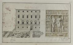 Drawing of Velletri Town House. See the antique high relief of Hercule and Omphale. Town House, Classical Architecture, Hercules, Photo Wall, Symbols, Antiques, Drawings, Frame, Fortaleza
