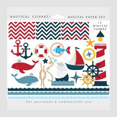 Nautical clipart - ship clip art, sailor clipart, lighthouse, ocean, sea, waves, anchor, papers, compass, for personal and commercial use