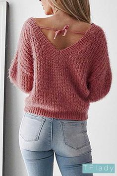 49bfd41d7a4 Solid V-neck Backless Sexy Sweater