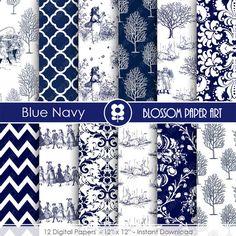 Digital Paper Blue Navy Digital Paper, Vintage Scrapbooking Paper, Vintage Papers - Invitations - Paper Crafts - 1748