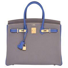 70cadca6ad5 Hermes Etain Blue Electric 35cm Togo Gold Special Order Horseshoe VIP  Birkin Bag